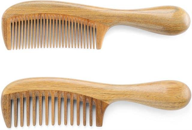 Onedor Handmade 100% Natural Green Sandalwood Hair Combs - Anti-Static